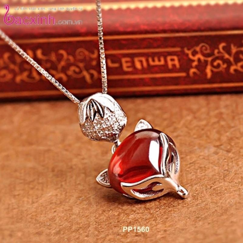Bộ dây chuyền liền mặt nữ trang sức bạc Ý S925 Bạc Xinh - Hồ ly may mắn PP1560