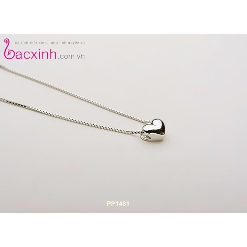 Bộ dây chuyền liền mặt nữ trang sức bạc Ý S925 Bạc Xinh - Tim phồng PP1481