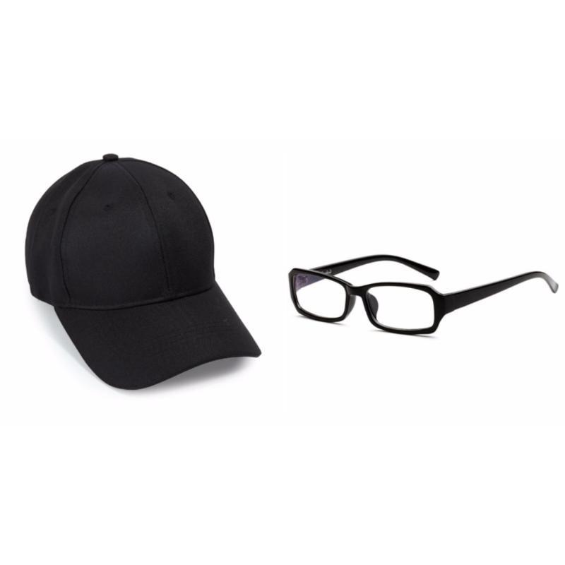 Giá bán Bộ kính giả cận và mũ lưỡi trai đen