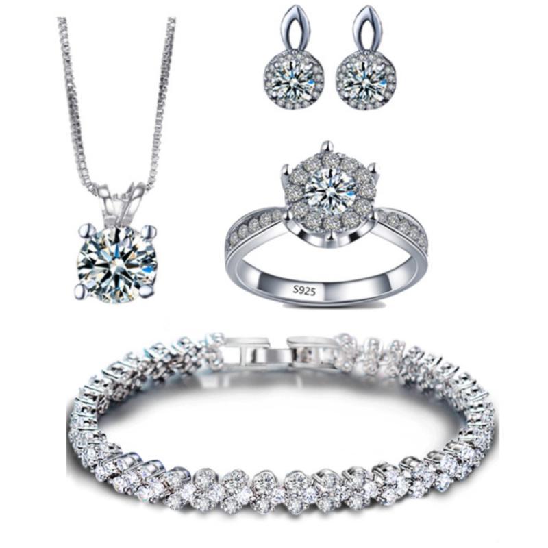 Bộ trang sức bạc 4 món đính đá thời trang minhtueshop SBT405