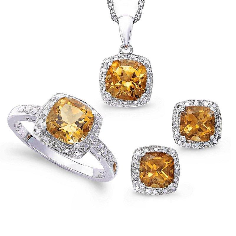 Bộ trang sức bạc đá thạch anh vàng Thao Linh Jewelry SPB0654