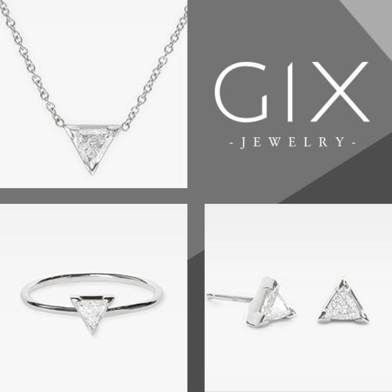 Bộ trang sức bạc/bộ trang sức bạc đẹp/bộ trang sức bạc giá rẻ/bộ trang sức bạc giá rẻ/bộ trang sức bạc/Bộ trang sức bạc nữ Bộ 3 món Dây chuyền, bông tai và nhẫn hình tam giác trang sức đẹp Gix Jewelry - SCB-0303(trắng)