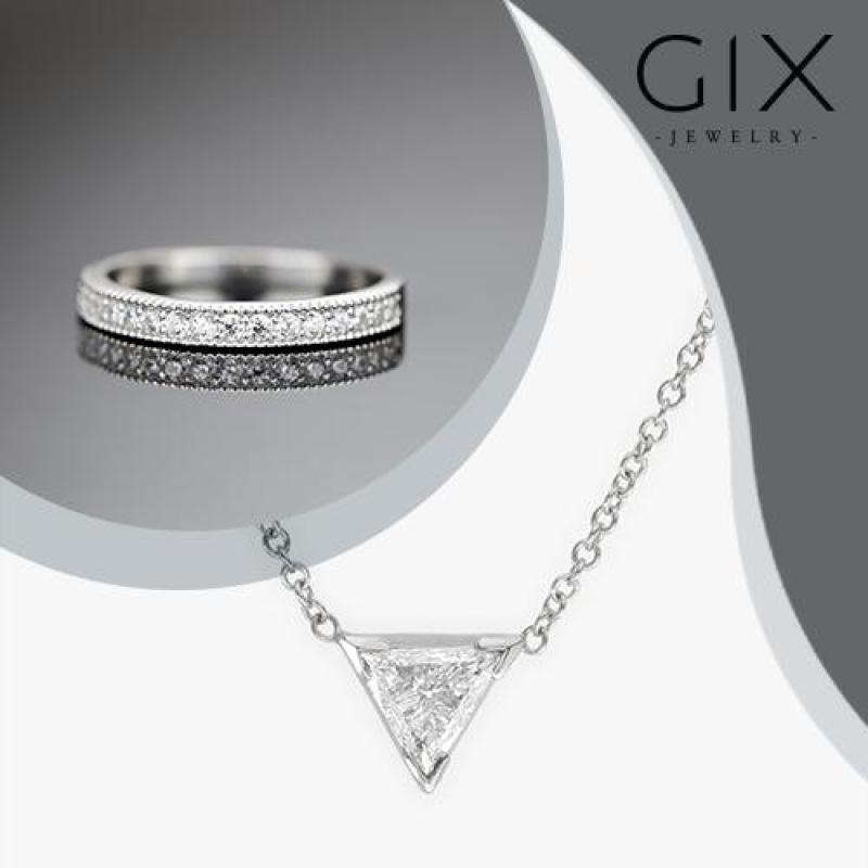Bộ trang sức bạc/bộ trang sức bạc đẹp/bộ trang sức bạc giá rẻ/bộ trang sức bạc giá rẻ/bộ trang sức bạc/Bộ trang sức bạc nữ dây chuyền tam giác +  nhẫn pavering trang sức đẹp Gix Jewelry - SCB-0290(trắng)
