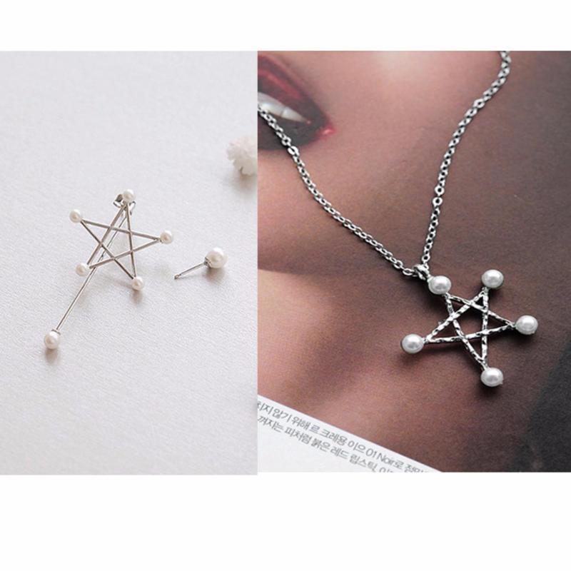 Bộ trang sức Bông tai và Dây chuyền ngôi sao màu bạc