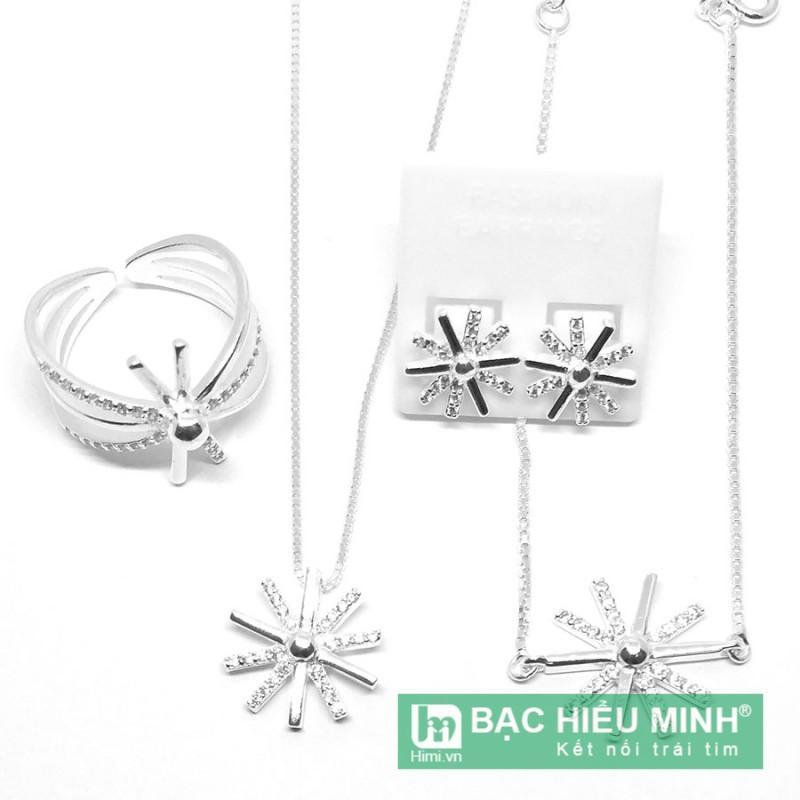 Bộ trang sức Dây chuyền lắc tay nhẫn và hoa tai Bạc Hiểu Minh bạc Ý dmd071
