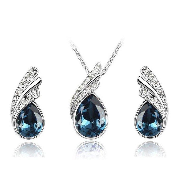 Bộ trang sức giọt nước pha lê (xanh đen)