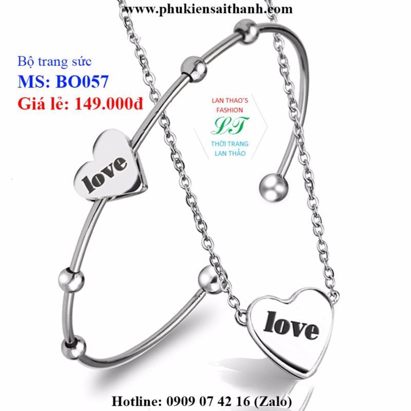 Bộ trang sức Inox Trái tim Chữ Love xinh xắn BO057 (TRẮNG)