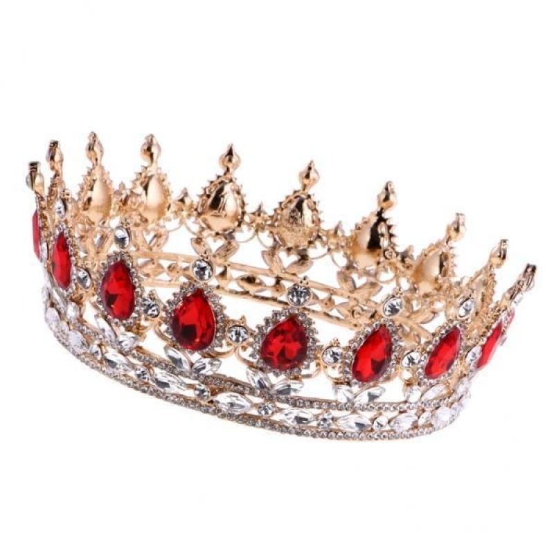 BolehDeals Baroque Ruby Gold Queen Crown Tiara Wedding Headpiece Girls Pageant Costume - intl