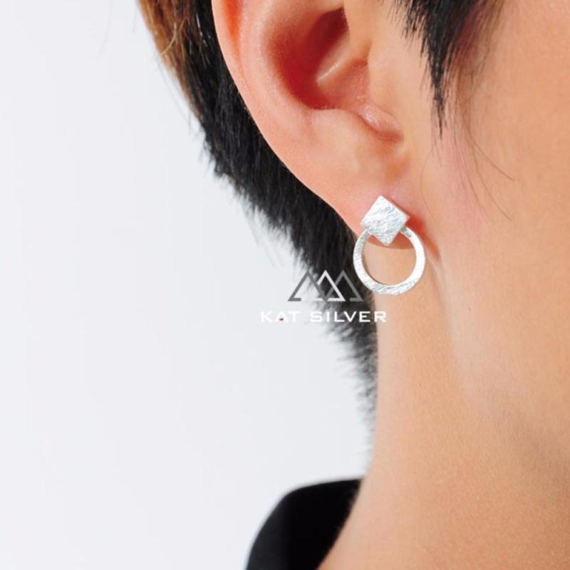 Bông tai bạc 925 KAT Silver khuyên tròn - tam giác nhám KRSES110-61