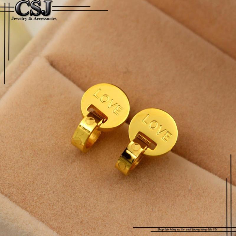 Bông tai titan thương hiệu Catier mạ vàng 24k CSJ (vàng)
