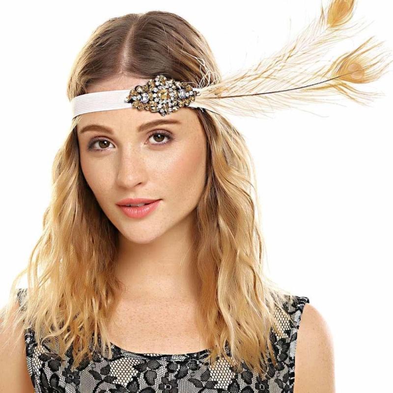 Cyber Low Profit Women Vintage Style Rhinestone Party Feather Headband - intl