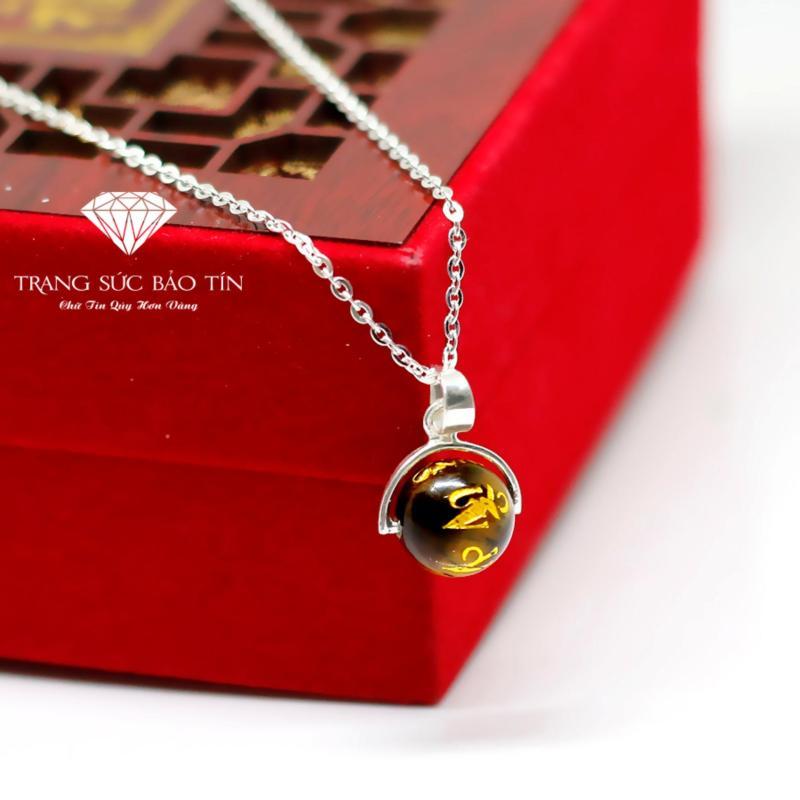 Dây Chuyền Bạc Nữ Đá Mắt Hổ Vàng Khắc Kinh Phật Mệnh Kim - Thổ BẢO TÍN