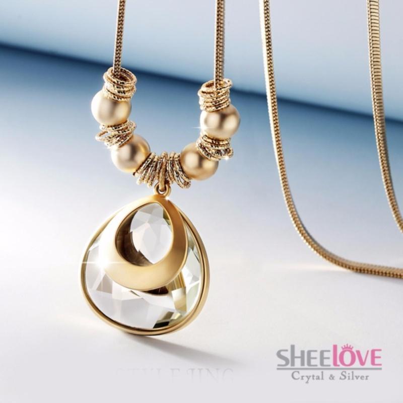 Dây chuyền dài pha lê lấp lánh kiểu giọt nước thời trang sang trọng MYL-0286 (vàng)