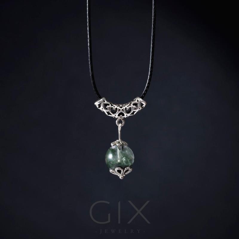 Dây chuyền phong thủy đá thạch anh ưu linh xanh tự nhiên trang sức đẹp Gix Jewelry - SPN-0055 (xanh)