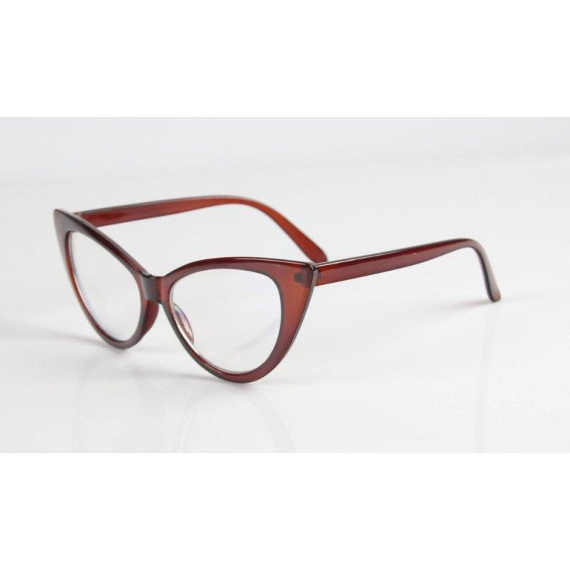 Mua Fashion Cat-Eye Shape Women Lady Girls Plastic Plain Eye Glasses -Brown - intl