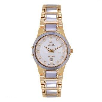 Đồng hồ nữ dây thép không gỉ Aolix 6824L (Trắng phối vàng)