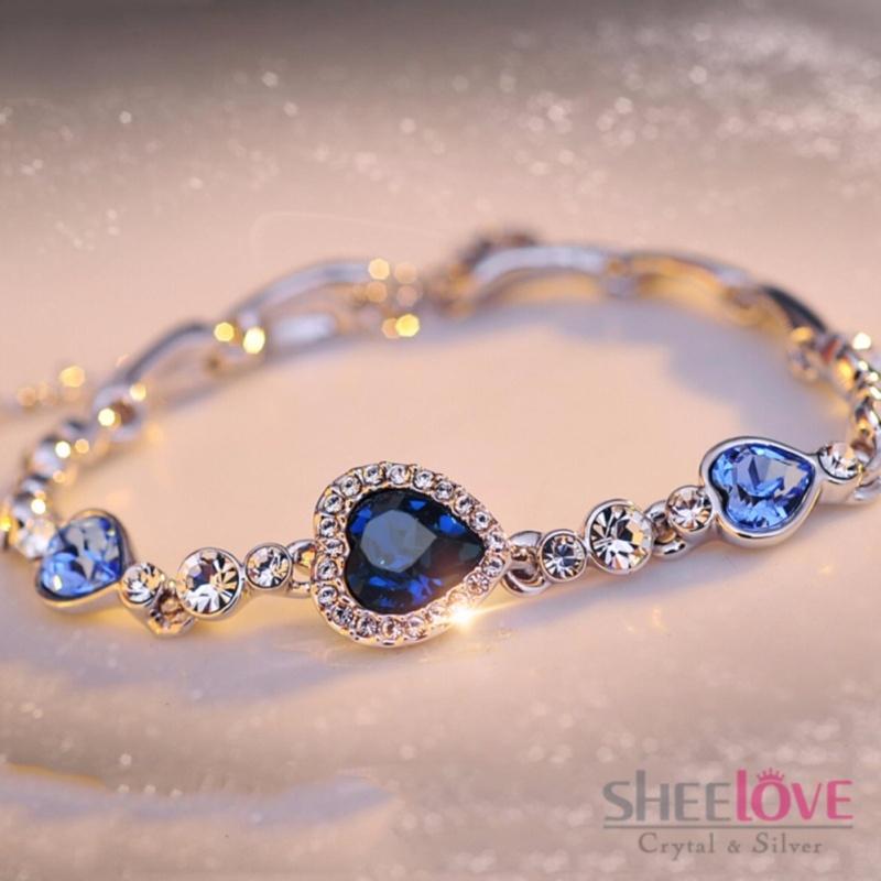Lắc tay trái tim đính pha lê cao cấp sang trọng thời trang QCB-0152