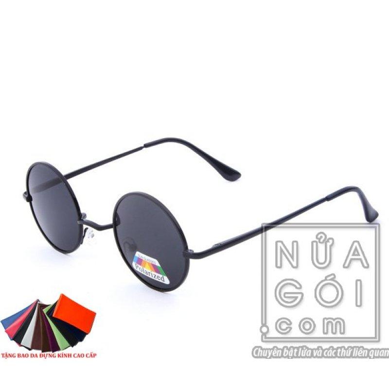 Mua Mắt kính kiểu thầy bói F661 + Tặng bao da cao cấp (Tròng đen)