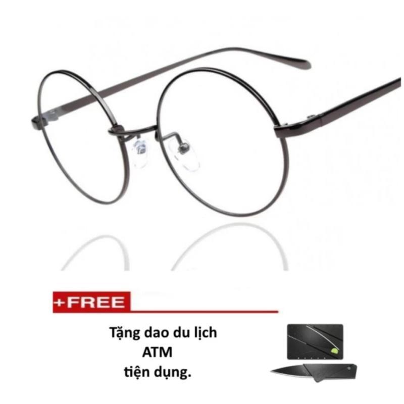 Mua Mắt kính ngố gọng cận thời trang PGH-217( đen) + Tặng 1 dao atm tiện dụng (đen)