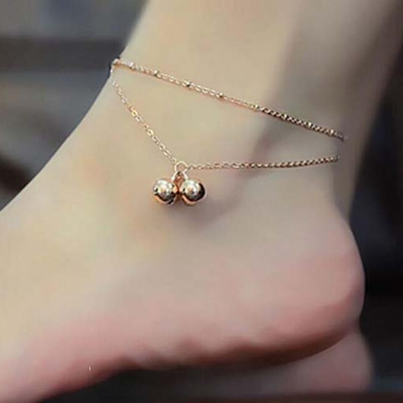 Sexy Women Double Bell Ankle Chain Anklet Foot Jewelry Sandal Beach - intl
