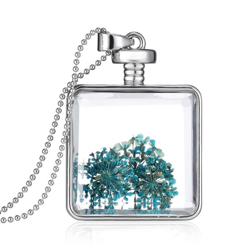 Silver Blue Dried Flower Plant Specimen Square Locket Necklace Jewelry Charm - Intl
