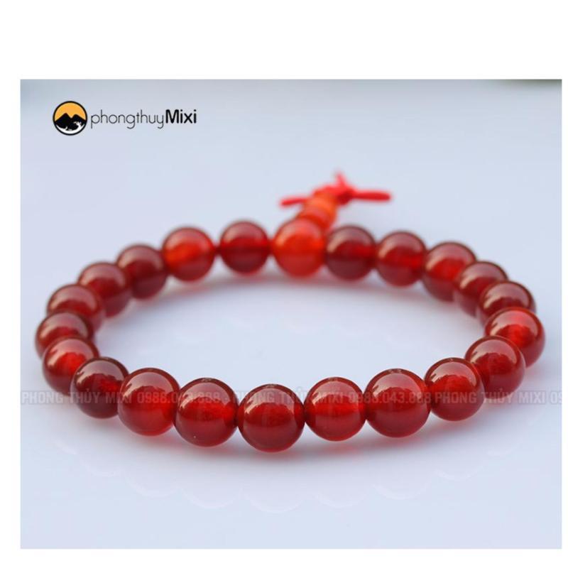 Vòng tay đá phong thủy mã não đỏ 10 ly mix bạc (Tặng vòng cổ mặt đá)
