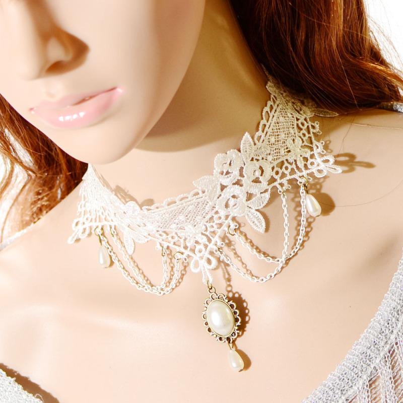 Water Drop Lace Hollow Imitation Pearl Collar Necklace Wedding Jewelry - Intl