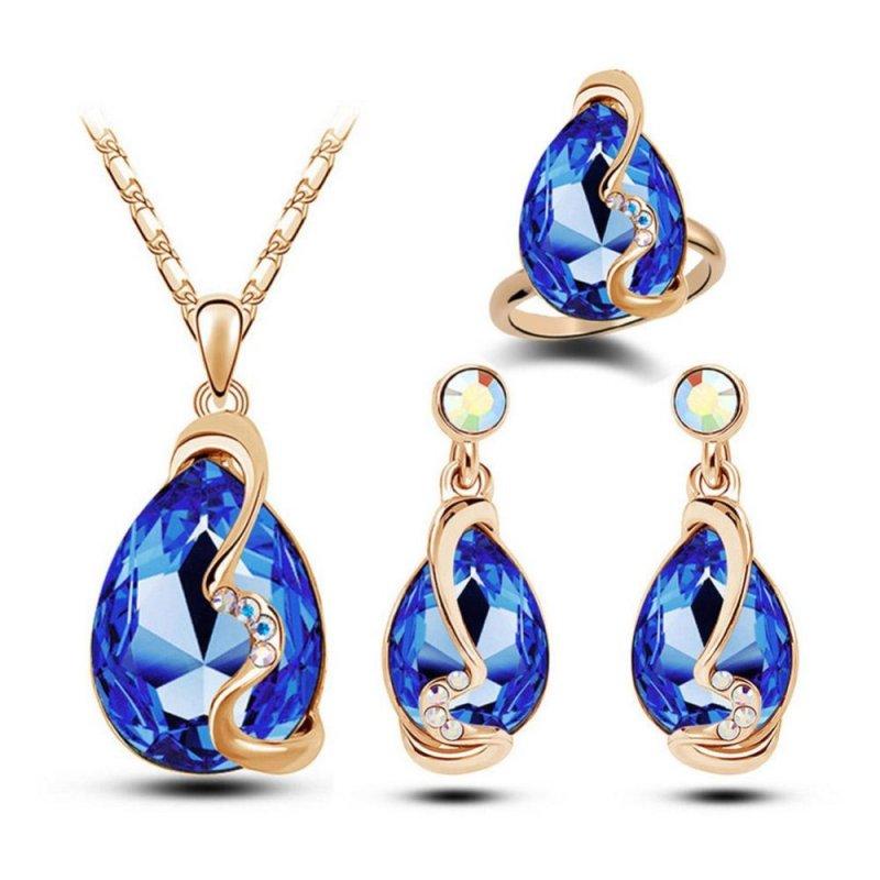 Women Jewelry Sets Crystal Rhinestone Earrings+Pendant Necklace+Ring - intl