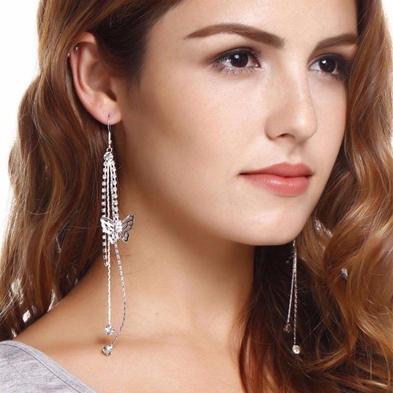 Yidabo New Women Fashion Long Tassels Hook Eardrop Shiny Linear Earrings - intl