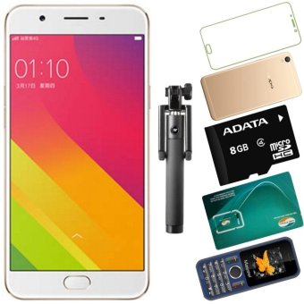 Bộ 1 OPPO F1s 3GB-32GB (Vàng Hồng) - Hãng Phân phối chính thức + 1 Masstel A12 + 1 Ốp Lưng + 1 Dán Cường Lực + 1 Sim Viettel + 1Thẻ Nhớ 8GB +Gậy Chụp Hình