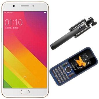 Bộ 1 OPPO F1s 3GB-32GB (Vàng Hồng) - Hãng Phân phối chính thức + 1 Masstel A12 +Gậy Chụp Hình