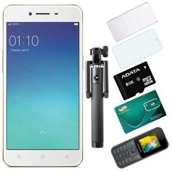 Bộ 1 OPPO Neo9_ A37 16GB (Vàng Đồng) + 1 Masstel A10 + 1 Ôp Lưng + 1 Dán Cường Lực + 1 Gậy Chụp Hình + 1 Sim Viettel + 1 Thẻ Nhớ 8GB