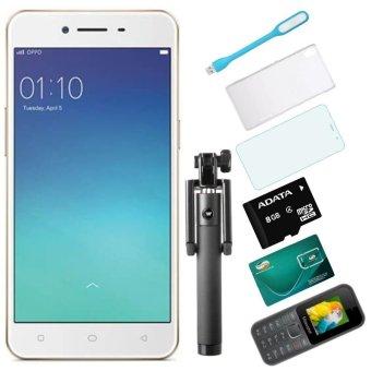 Bộ 1 OPPO Neo9_ A37 16GB (Vàng Hồng) + 1 Masstel A10 + 1 Ốp Lưng + 1 Dán Cường Lực + 1 Đèn Led USB + 1 Gậy Chụp Hình + 1 Sim Viettel+ 1 Thẻ Nhớ 8GB