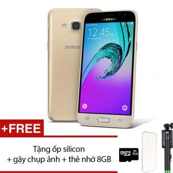Samsung Galaxy J3 LTE 8GB (Vàng) - Hãng Phân phối chính thức + Tặng ốp lưng silicon + gậy chụp ảnh + thẻ nhớ 8GB