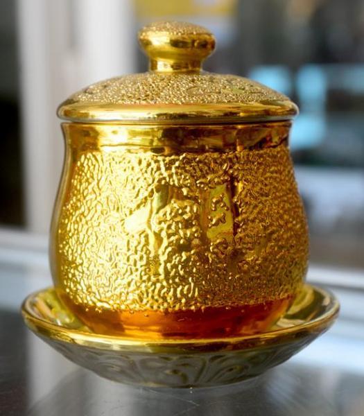 Ly nước thờ cúng kim sa vàng-Chung đại bi có nắp