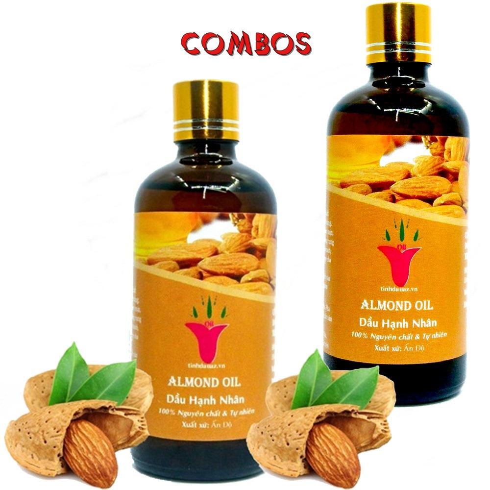 COMBO 2 CHAI DẦU HẠNH NHÂN ( ALMOND OIL ) 100ML/1CHAI  ẤN ĐỘ