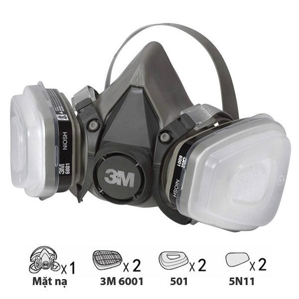 Bộ mặt nạ phòng độc 3M 6200 + Phin lọc 3M 6001CN chống khói, phun sơn, Phun thuốc sâu | Mặt nạ chống độc 3M 6200