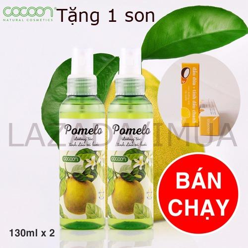 Hình ảnh Bộ 2 Chai Tinh Dầu Bưởi Xịt Tóc Pomelo Cocoon 130ml tặng 1 son dưỡng môi