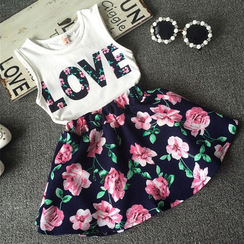 [SALE] Set bộ rời áo phồng kèm chân váy hoa dáng xòe cực yêu dành cho bé