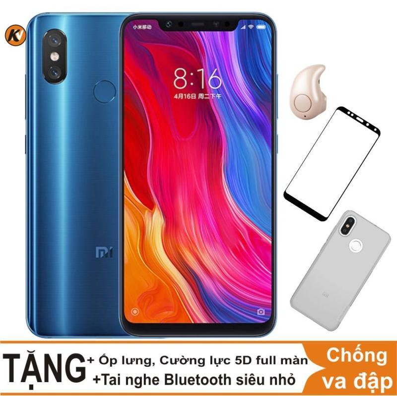 Xiaomi Mi 8 64GB Ram 6GB Khang Nhung (Xanh) + Ốp lưng + Cường lực 5D full màn (Đen) + Tai nghe bluetooth siêu nhỏ