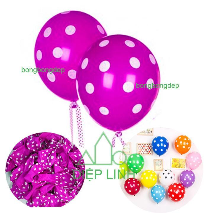 Hình ảnh 50 bong bóng chấm bi lớn loại 12 inch(35cm) trang trí tiệc, sinh nhật - Diệp Linh