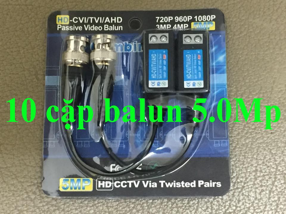 COMBO 10 CẶP balun 5.0Mp VẶN VÍT BDV-04 đi dây 600m- video balun 5.0Mp