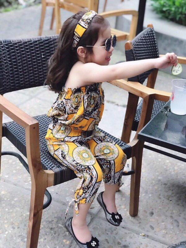 Nơi bán Set đồ kèm khăn Tuban màu vàng sành điệu xuống phố cho bé - size 6 (20-23kg/105-120cm)