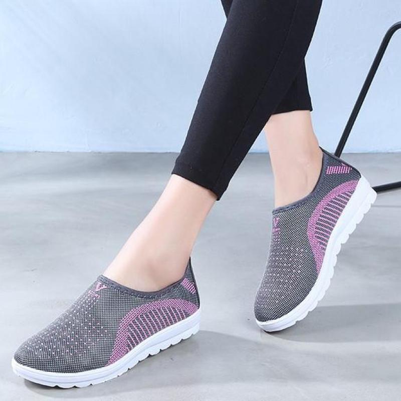 Mua 2 Miễn phí vận chuyển: Giày lười nữ phong cách êm chân thoáng khí - chữ V (full hộp) -màu ghi, tím, hồng - Size 35 đến 40 - V124