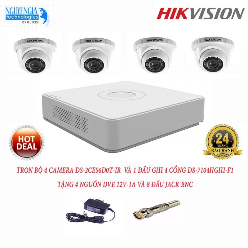 Trọn bộ 4 camera ngoài trời Hikvision DS-2CE56D0T-IR và 1 đầu ghi hình Hikvision DS-7104HGHI-F1(1.0 Megapixel)(Tặng kèm 4 nguồn DVE 12v-1A và 8 jack BNC)