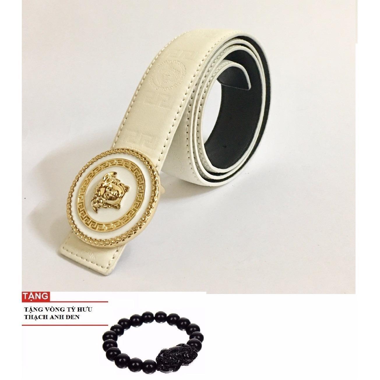Dây Nịt Lưng Nữ Da Mặt Tròn Mạ Vàng Thời Thượng Vs68 TẶng Vòng Tỳ Hưu May Mắn By Shop Việt1.