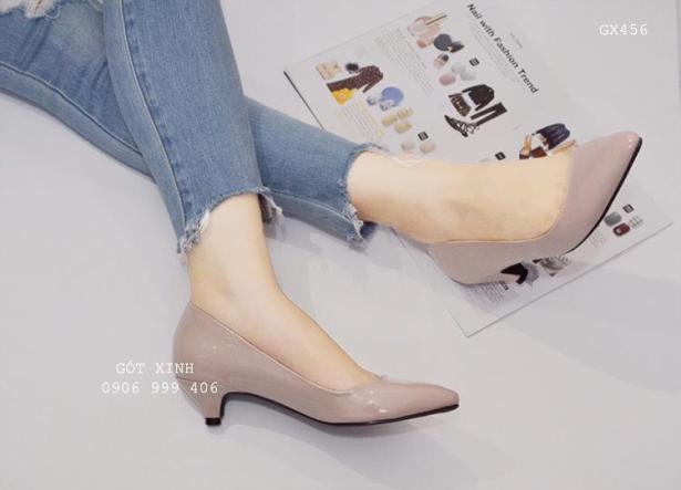 Giày cao gót mũi nhọn 3 phân trơn màu nude giá rẻ