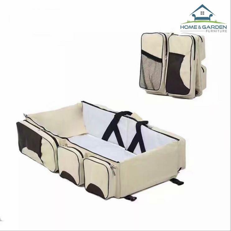 Túi xách đa năng Royal Baby màu Kem dành cho mẹ, xếp gọn được khi đi du lịch và có thể cho bé nằm ngủ kích thước ( 75x35x20cm ) - Home and Garden