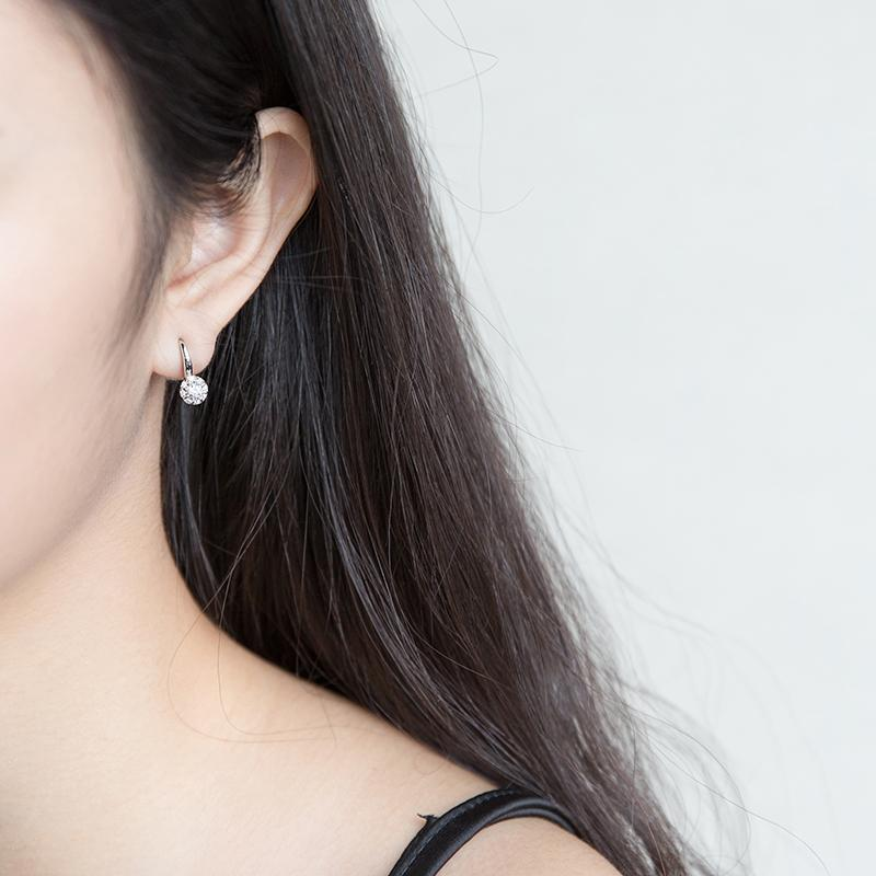 A'ROCH 925 Silver Earrings Female Korean Style Hipster Full of Crystals HUADO Earrings Elegant Hipster Short Ear Rings