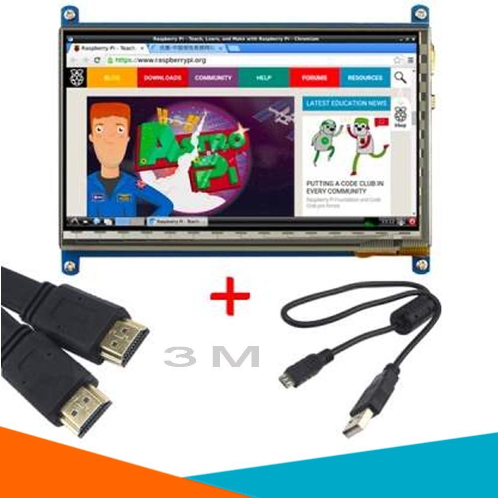 Màn Hình Raspberry 7Inch HD 800x480 Cảm Ứng (Tặng Cáp HDMI, Cáp USB, Đĩa Hướng Dẫn )